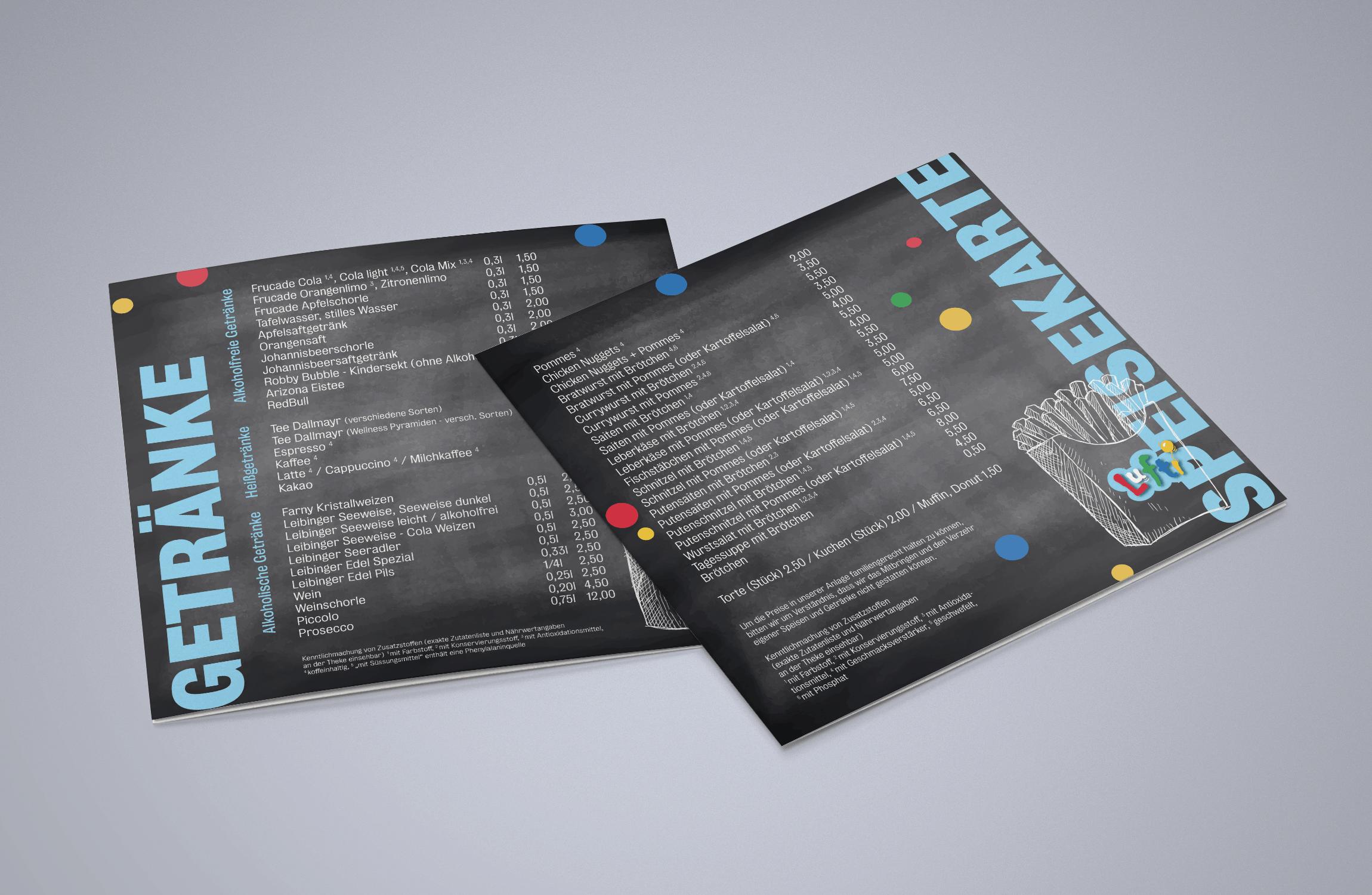 Für die Lufti Kinderspielewelt haben wir das Design der Speisenkarte übernommen